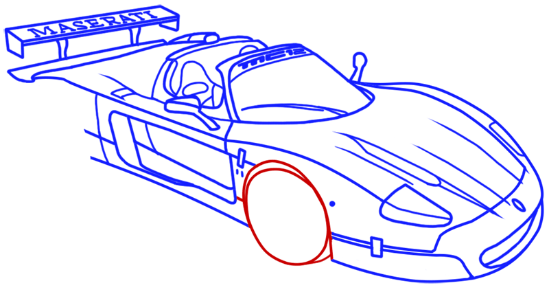 Learn easy to draw Maserati MC12 step 14