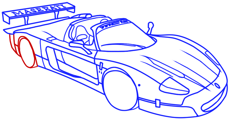 Learn easy to draw Maserati MC12 step 15