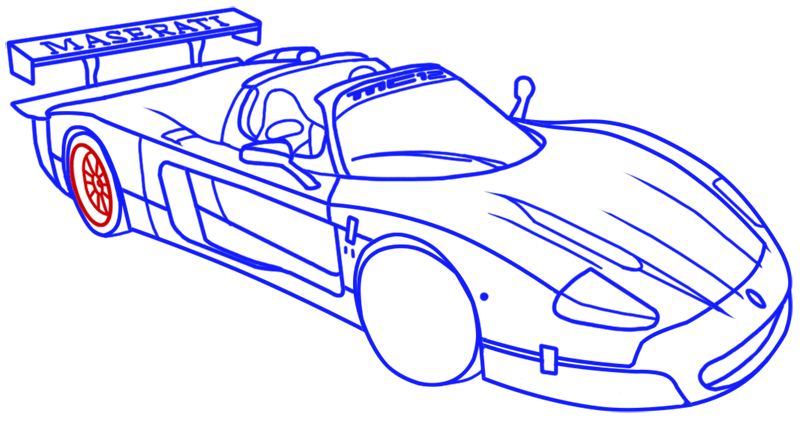 Learn easy to draw Maserati MC12 step 16