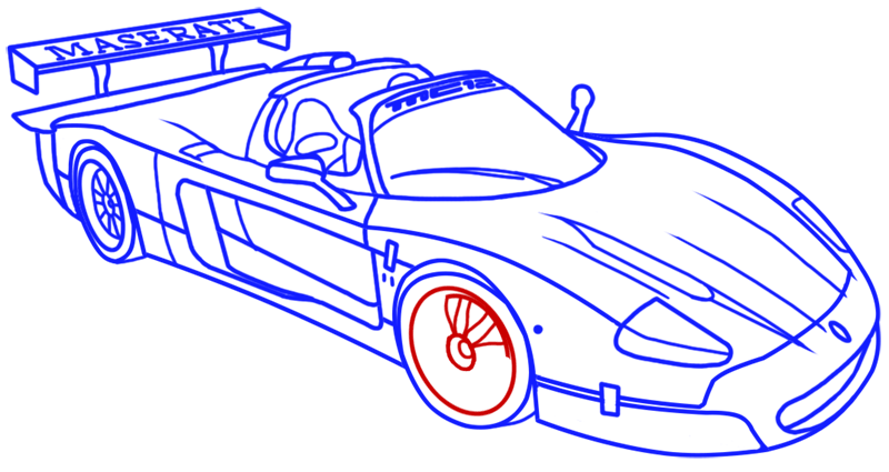 Learn easy to draw Maserati MC12 step 17