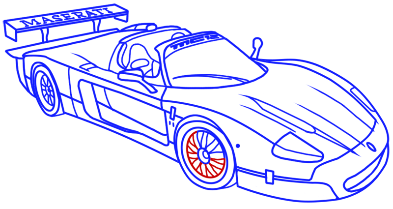 Learn easy to draw Maserati MC12 step 18