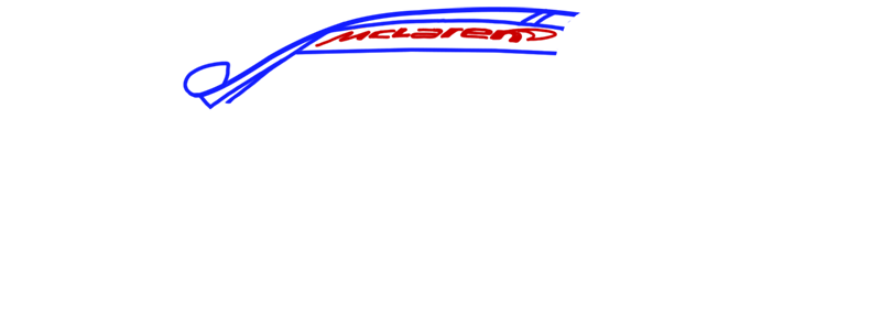 Learn easy to draw McLaren MP4 12C white step 03