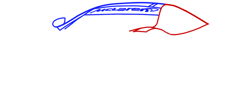 Learn easy to draw McLaren MP4 12C white step 04