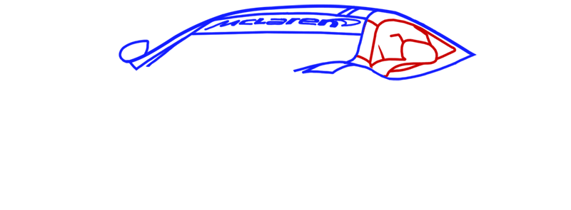 Learn easy to draw McLaren MP4 12C white step 05