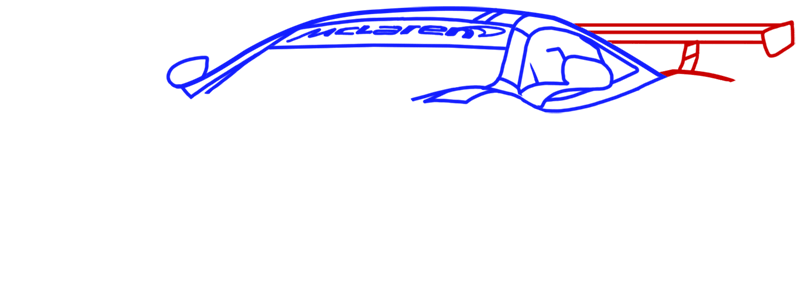 Learn easy to draw McLaren MP4 12C white step 06