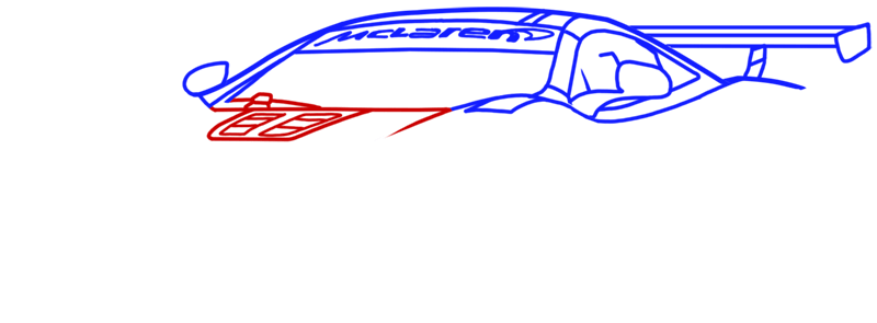 Learn easy to draw McLaren MP4 12C white step 07