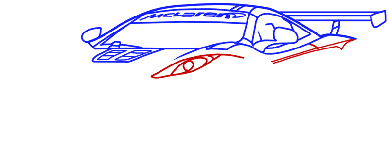 Learn easy to draw McLaren MP4 12C white step 08