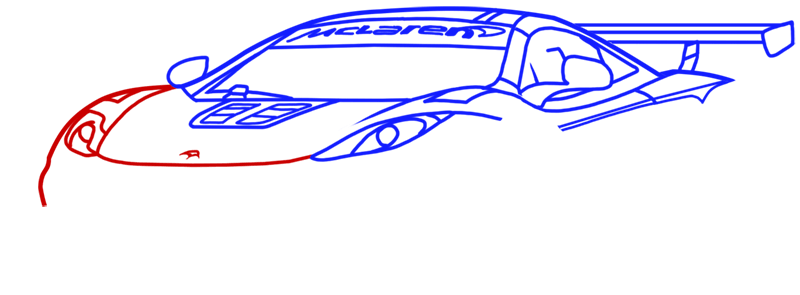 Learn easy to draw McLaren MP4 12C white step 09