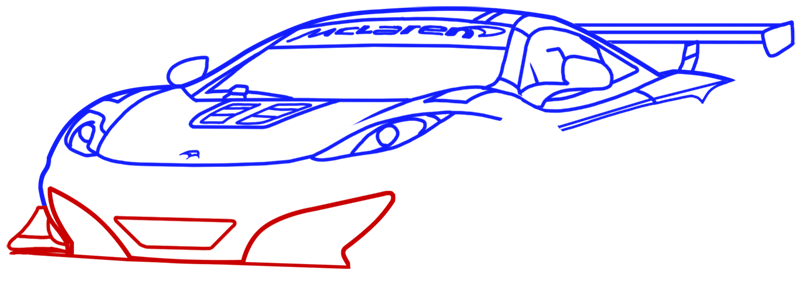 Learn easy to draw McLaren MP4 12C white step 10