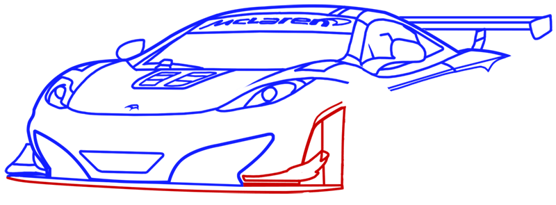 Learn easy to draw McLaren MP4 12C white step 11