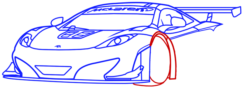 Learn easy to draw McLaren MP4 12C white step 12