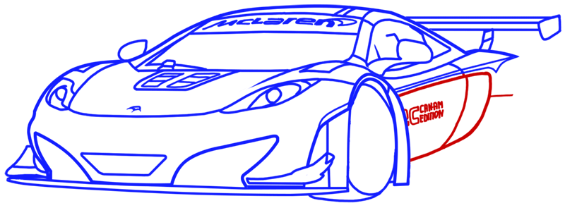 Learn easy to draw McLaren MP4 12C white step 13