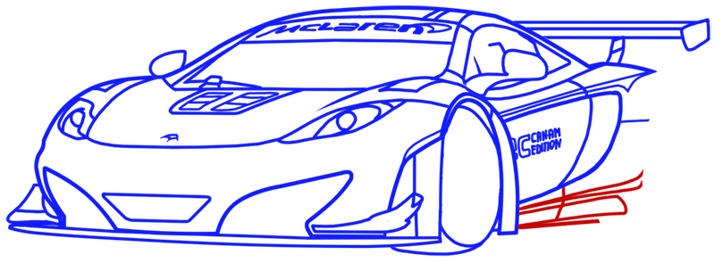 Learn easy to draw McLaren MP4 12C white step 14