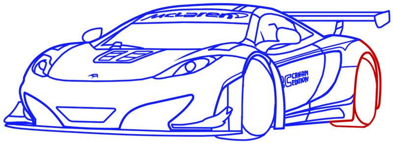 Learn easy to draw McLaren MP4 12C white step 15