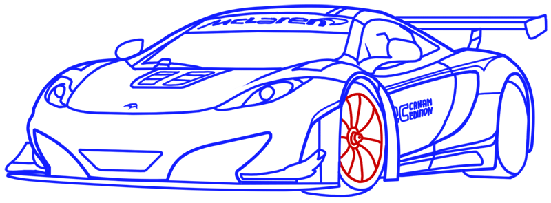 Learn easy to draw McLaren MP4 12C white step 16