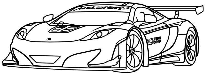 Learn easy to draw McLaren MP4 12C white step 18
