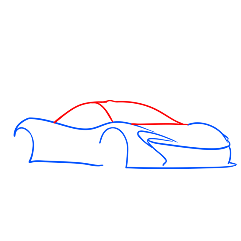 Learn easy to draw McLaren P1 GTR step 03