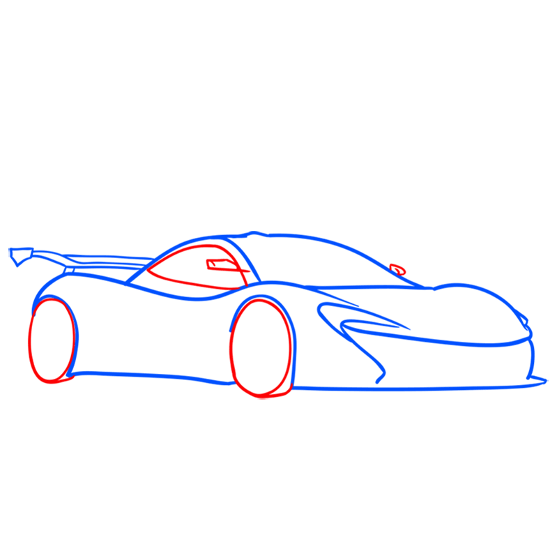 Learn easy to draw McLaren P1 GTR step 05