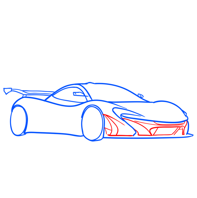 Learn easy to draw McLaren P1 GTR step 06