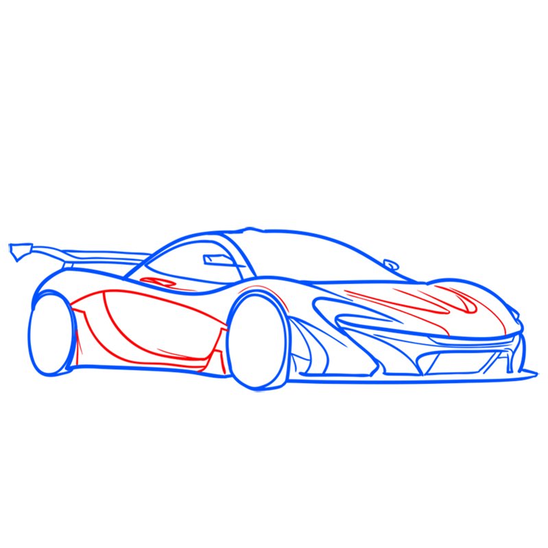 Learn easy to draw McLaren P1 GTR step 07
