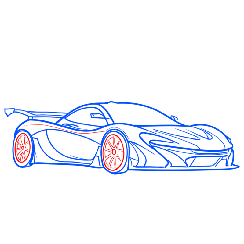 Learn easy to draw McLaren P1 GTR step 08