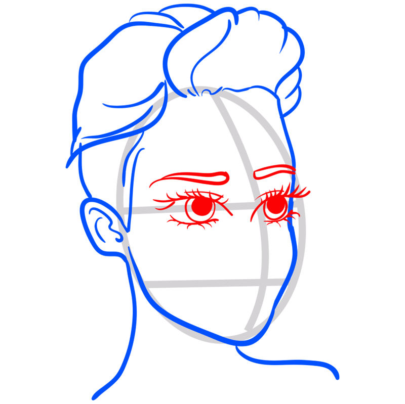 Learn easy to draw Miley Cyrus step 07