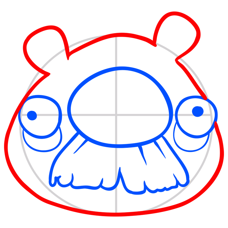 Learn easy to draw Mustache Pig step 05