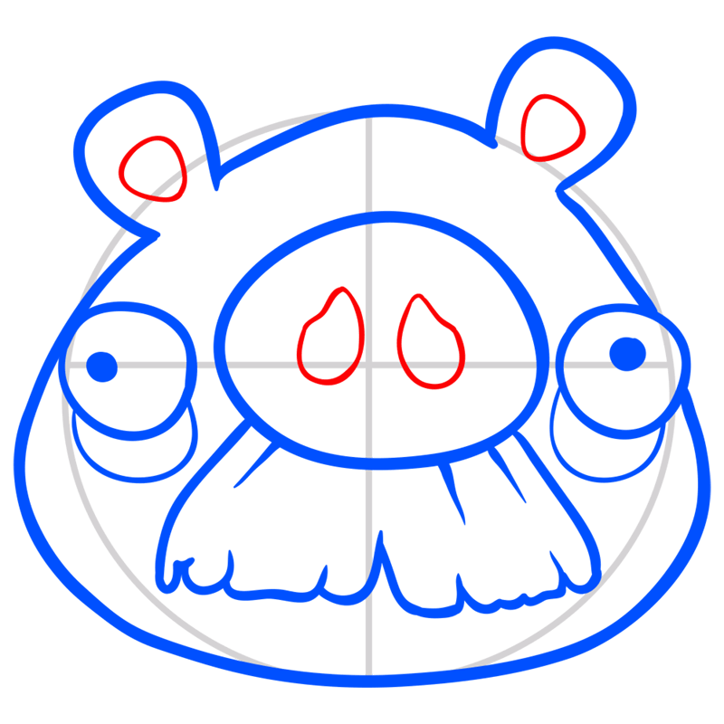 Learn easy to draw Mustache Pig step 06