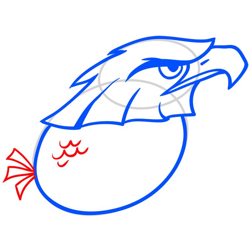 Learn easy to draw Nighty Philadelphia Eagle step 06