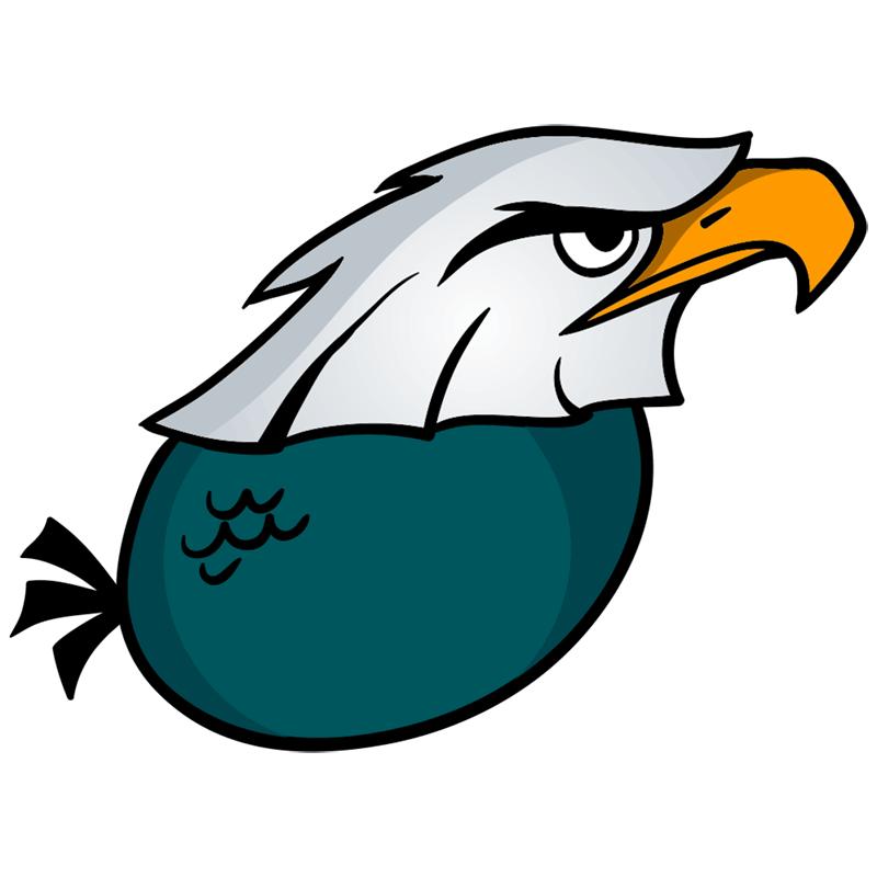 Learn easy to draw Nighty Philadelphia Eagle step 08