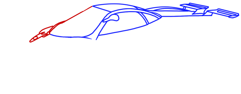 Learn easy to draw Pagani Zonda C12 step 06