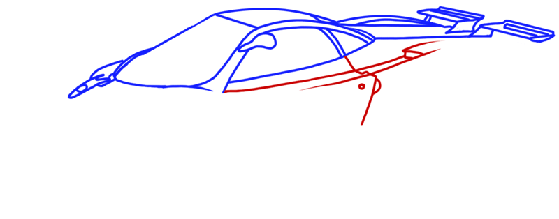 Learn easy to draw Pagani Zonda C12 step 07
