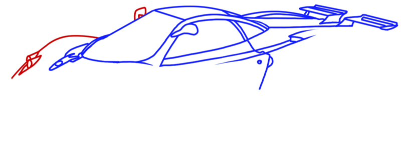 Learn easy to draw Pagani Zonda C12 step 08