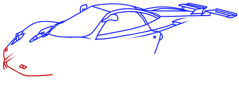 Learn easy to draw Pagani Zonda C12 step 09