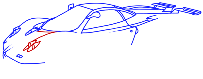 Learn easy to draw Pagani Zonda C12 step 10