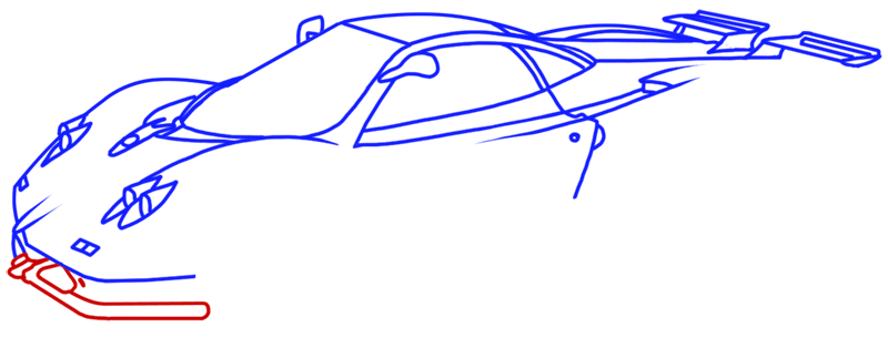 Learn easy to draw Pagani Zonda C12 step 11