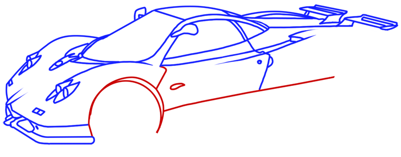 Learn easy to draw Pagani Zonda C12 step 12