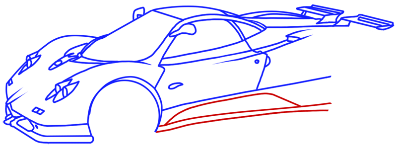 Learn easy to draw Pagani Zonda C12 step 13