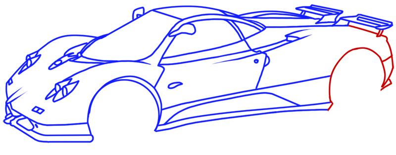 Learn easy to draw Pagani Zonda C12 step 14