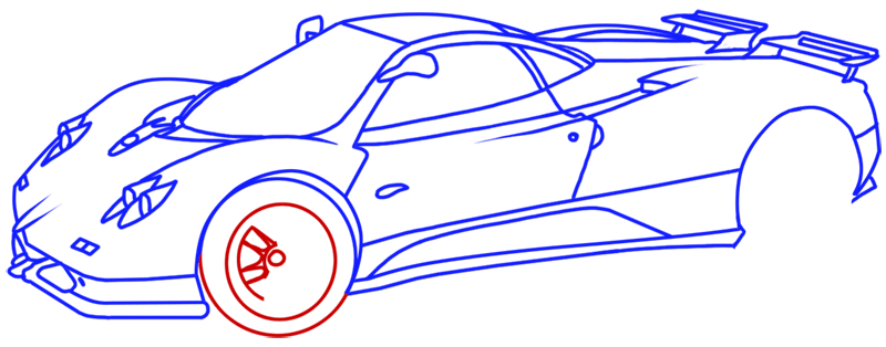 Learn easy to draw Pagani Zonda C12 step 15