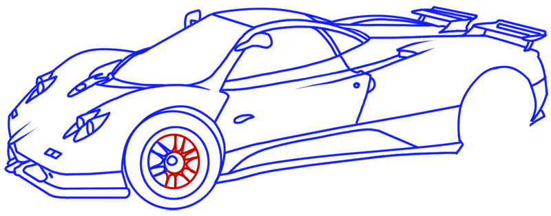 Learn easy to draw Pagani Zonda C12 step 16