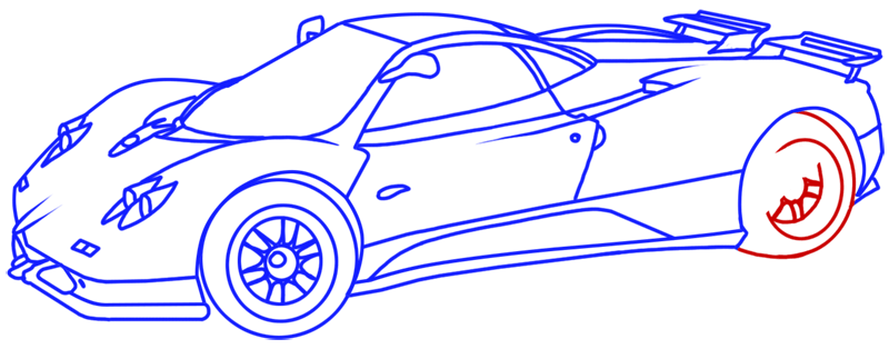 Learn easy to draw Pagani Zonda C12 step 17
