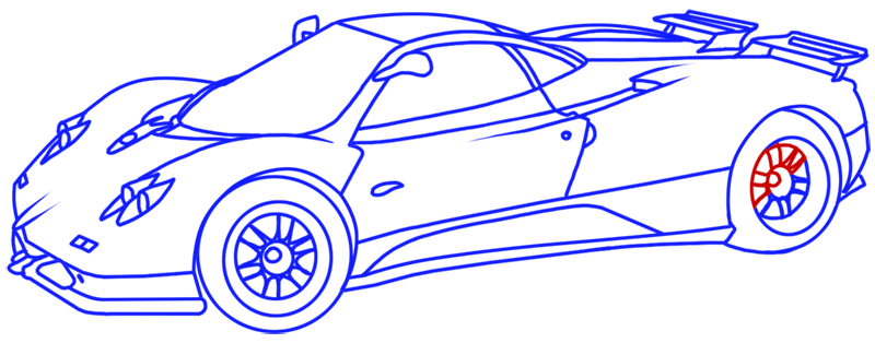 Learn easy to draw Pagani Zonda C12 step 18