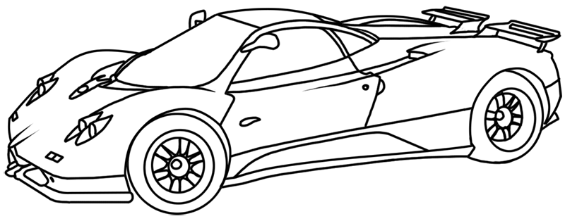 Learn easy to draw Pagani Zonda C12 step 19