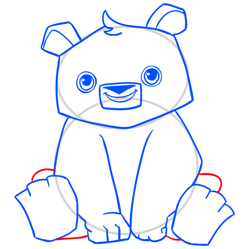 Learn easy to draw Panda step 10