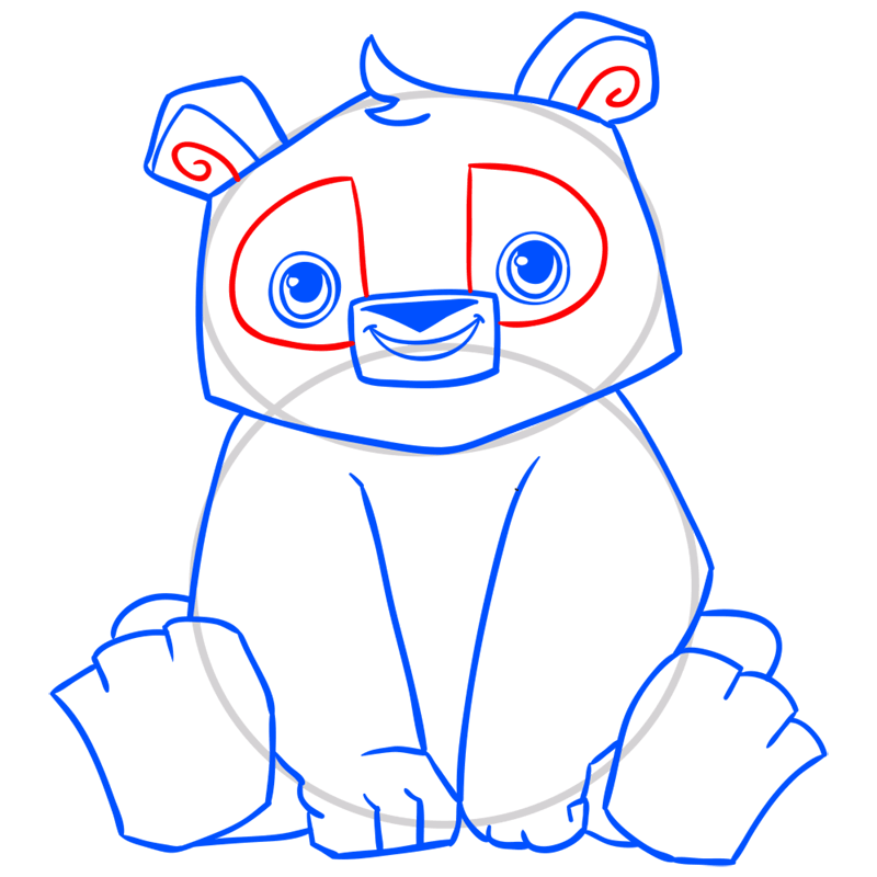 Learn easy to draw Panda step 11