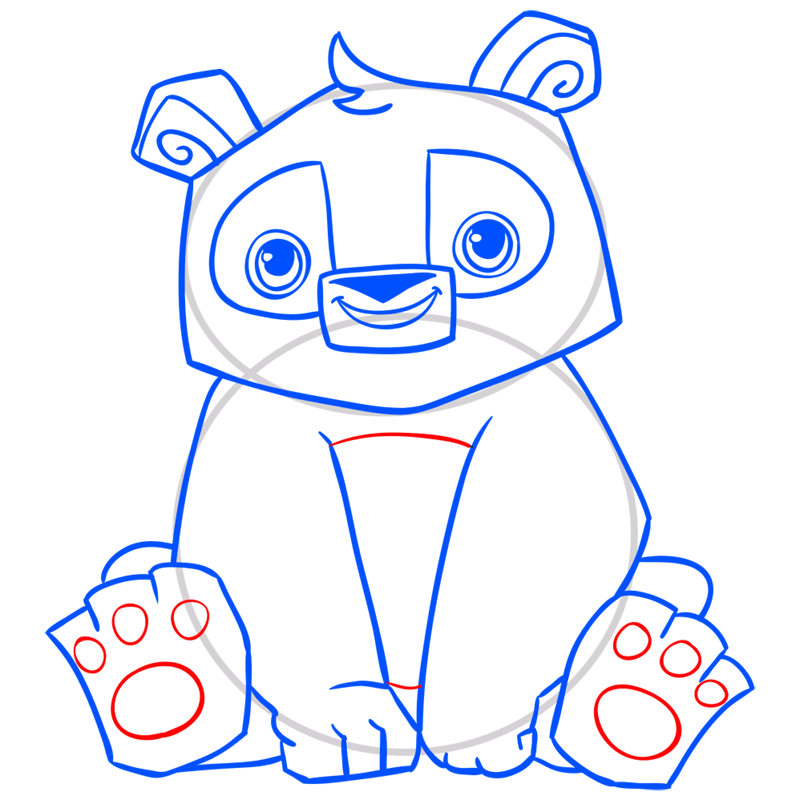 Learn easy to draw Panda step 12