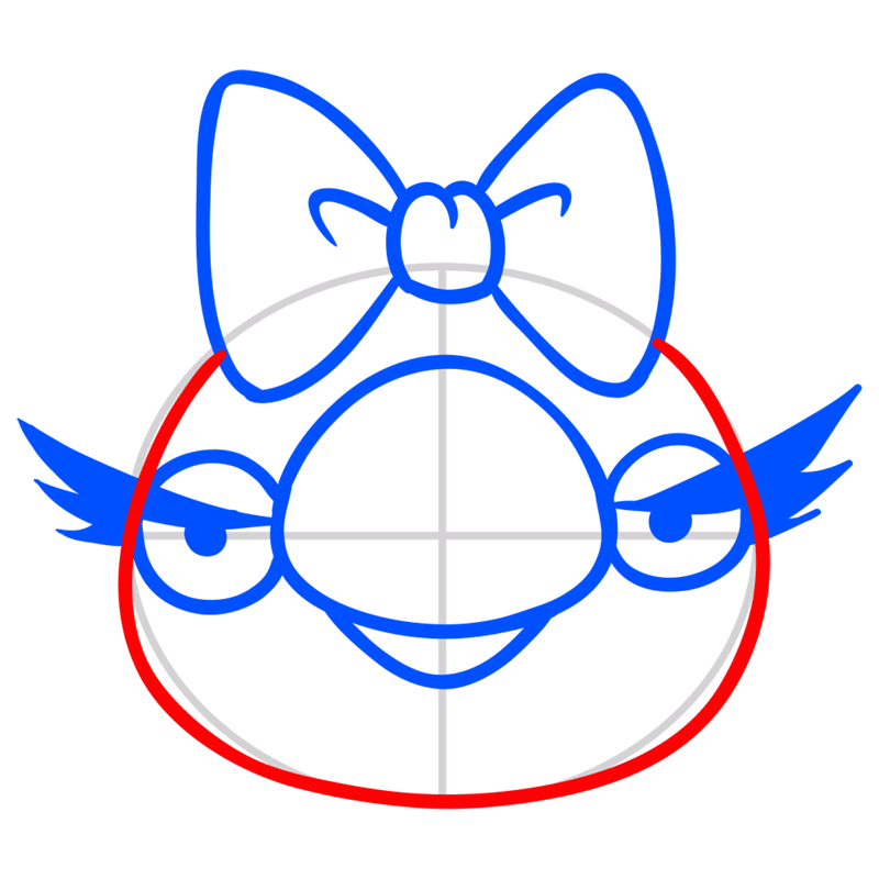 Learn easy to draw Queen Pig step 05