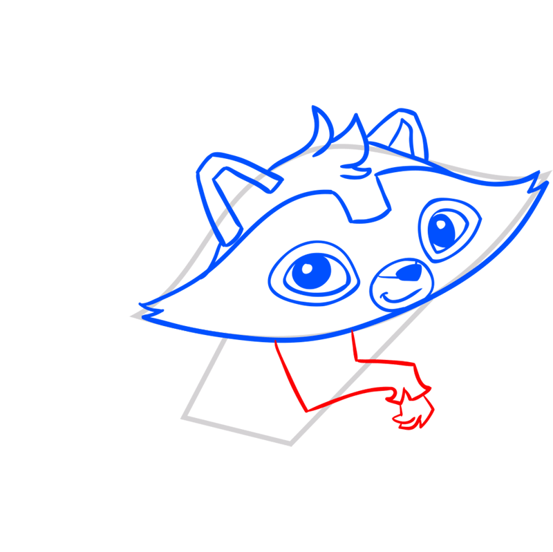 Learn easy to draw Raccoon step 06