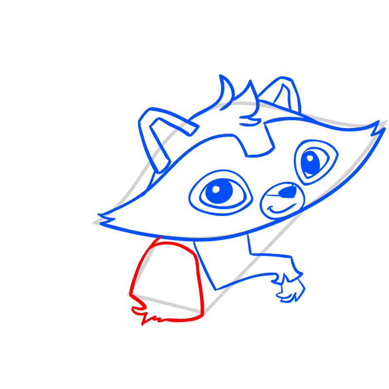 Learn easy to draw Raccoon step 07